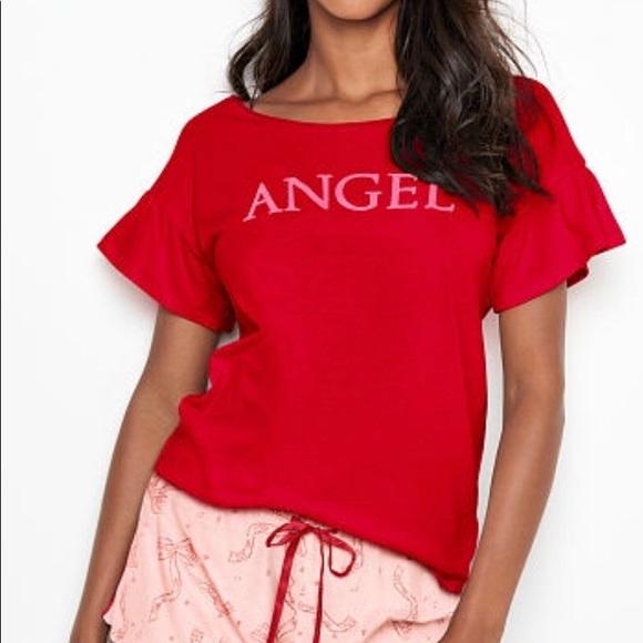 e3704894 Victoria's Secret Tops | Brand New Vs Graphic Ruffle Tee Lg | Poshmark